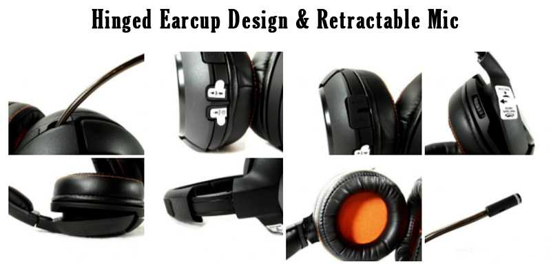 Hinged Earcup Design & Retractable Mic