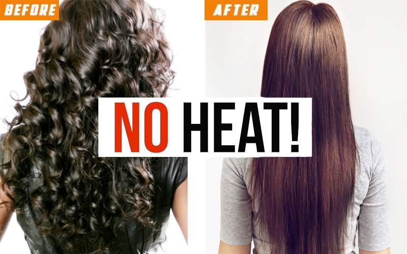Heatless natural hair straightening