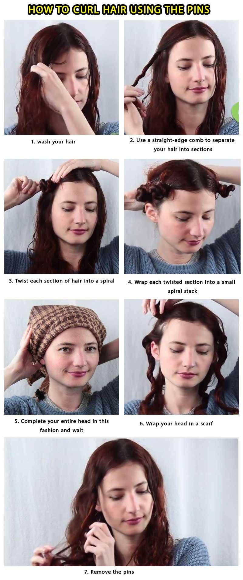make curl hair using pins