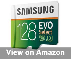 Samsung 128GB 100MB/s U3 MicroSDXC EVO Select Memory with Full Size card with Adapter